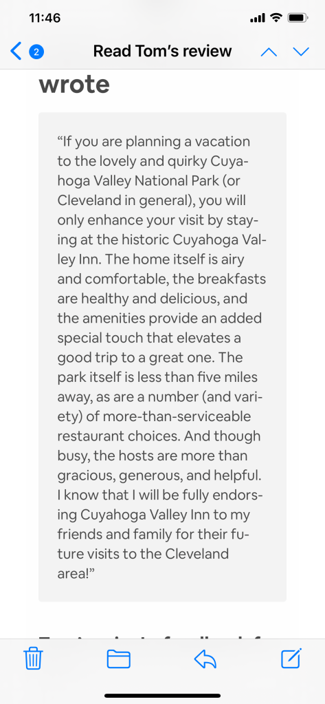 Review by happy guest of Cuyahoga Valley Inn